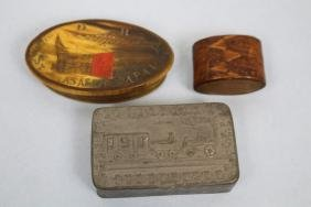 3 Snuff Boxes Including Scrimshaw & Finger Banding
