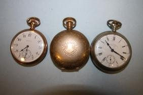 3 Pocket Watches - One with Horse Image