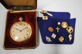 Fahys Pocket Watch & Group of Tie Tacks