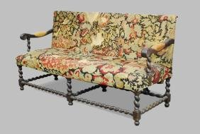 18th-19th C Walnut Tapestry Upholstered Settee