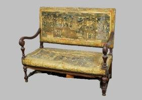 18th to 19th C Early Oak & Tapestry Upholstered Settee