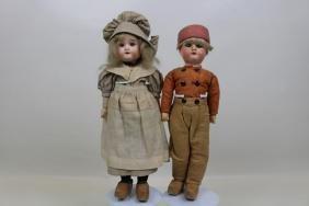 A&M Dutch Bisque Head Dolls in Full Costumes