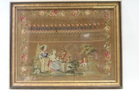 Woolwork Needlepoint Sampler Dated 1846