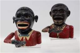 2 Jolly Black Man Mechanical Banks