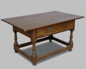 19th Walnut One-Drawer Tavern Table