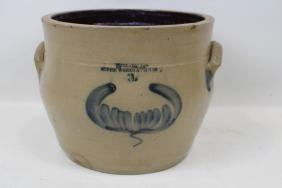 Cobalt Decorated 3-Gal Stoneware Crock - Globe Works