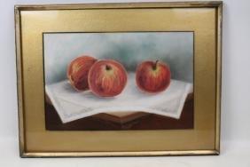 Pastel Still Life Apples Painting