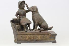1885 Shepherd Hardware Speaking Dog Mechanical Bank