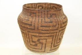 Native American Indian Coiled Geometric Pima Basket