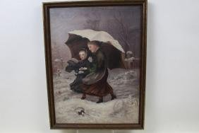 19th C Oil on Canvas Painting Young Girls in Cemetery