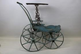 Large Size Blue Painted Victorian Doll Carriage