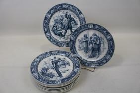 "12 Wedgwood Ivanhoe Pattern 10"" Dinner Plates - 1881"