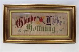Victorian Punched Paper Needlework Motto Sampler