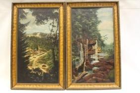 Pair Lg Landscape O/C Paintings -Matching Set