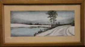 S. L. Smith Winter Landscape Pastel Painting