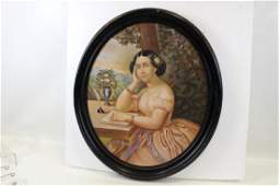 Large Oval Pastel of Victorian Lady at Her Desk