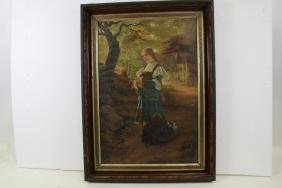 Victorian Chromolithograph Print - Young Girl in Woods