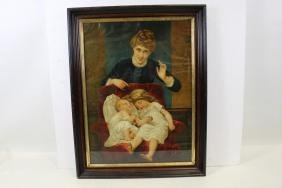 Victorian Chromolithograph Print - Mother & Babies