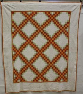 Double Irish Chain-  Red, Green, Pumpkin Colored Quilt