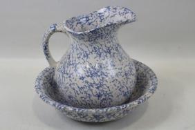 Blue & White Spongeware Pitcher & Bowl