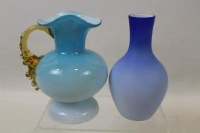 Pair Victorian Glass Vases - Satin Glass & Cased Glass