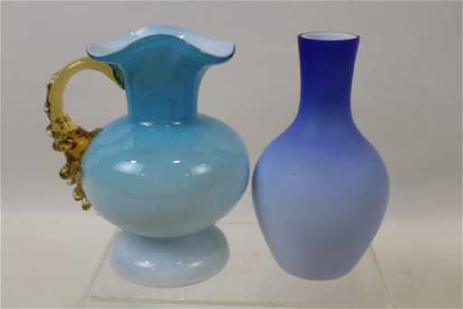 Pair Victorian Glass Vases Satin Glass Cased Glass
