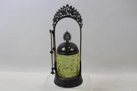 Victorian Vaseline / Canary Glass Pickle Caster