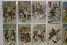 27 BW Postcards Children New Year Series