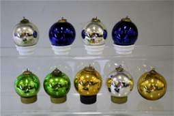 9 German Kugel Christmas Ornaments