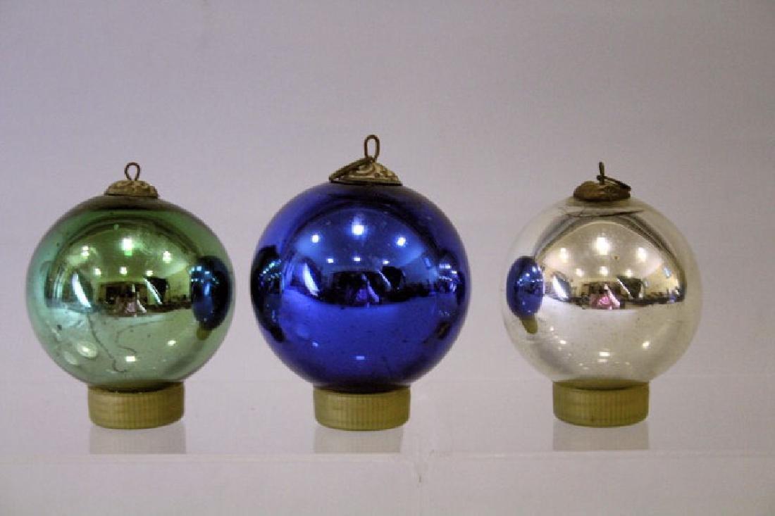 3 German Kugel Christmas Ornaments