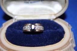 Ladys Ring  14k Yellow Gold w Diamonds  Sapphire