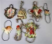 7 Antique Scrap Ornaments w Tinsel Decoration