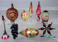 Group of Antique Blown Glass Christmas Tree Ornaments