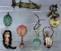 Early Antique Blown Glass Wired Christmas Ornaments