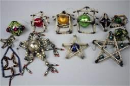 12 Glass Beaded Christmas Tree Ornaments