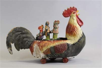 19th C Rare Large Size Rooster Papier Mache Skittle Toy