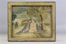 American Folk Art Mourning Watercolor 1814