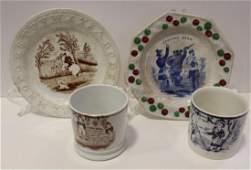 19th C Staffordshire ABC Plates  Cups  Mugs