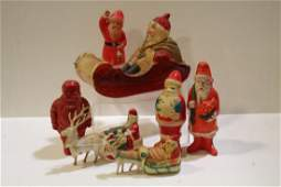 Large Grouping of Early Celluloid Santas