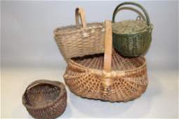 Group of 4 Antique Baskets Includes Lidded Feather