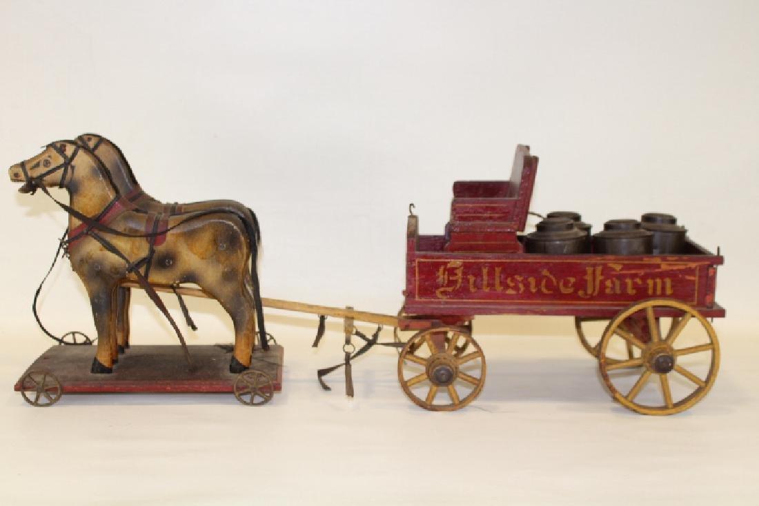 19th C Milk Wagon w/ 2-Horse Team Pull Toy
