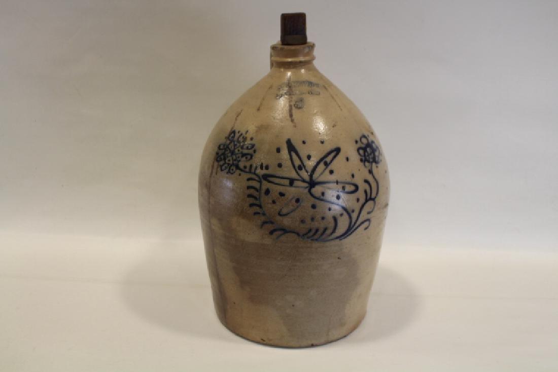 5 G Decorated Stoneware Jug Bigelow, New Bedford Mass