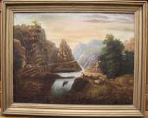 Large Landscape Oil Painting of Mountains & Waterfall