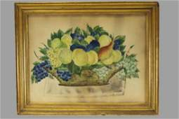 Early 19th C Lg Watercolor on Paper Fruit Theorem Folk