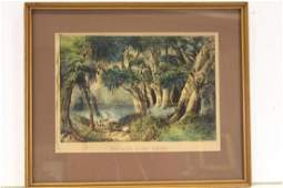 Currier  Ives Colored Lithograph Lake in the Woods