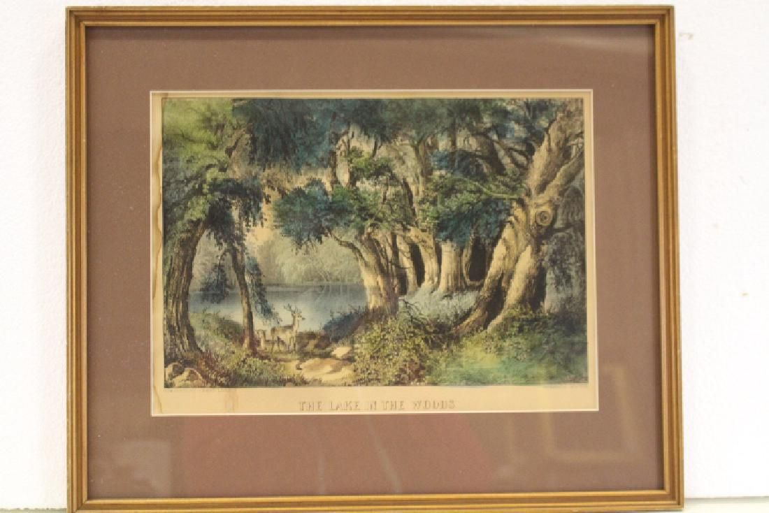 Currier & Ives Colored Lithograph Lake in the Woods