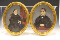 19th C Pair Oval Oil Paintings of Married Couple