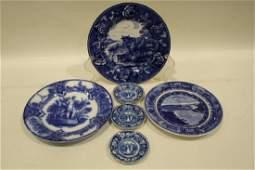 19th C Blue Transferware Plates - Historical