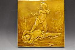 19th C Glazed Art Pottery Tile of Two Cherubs at Play