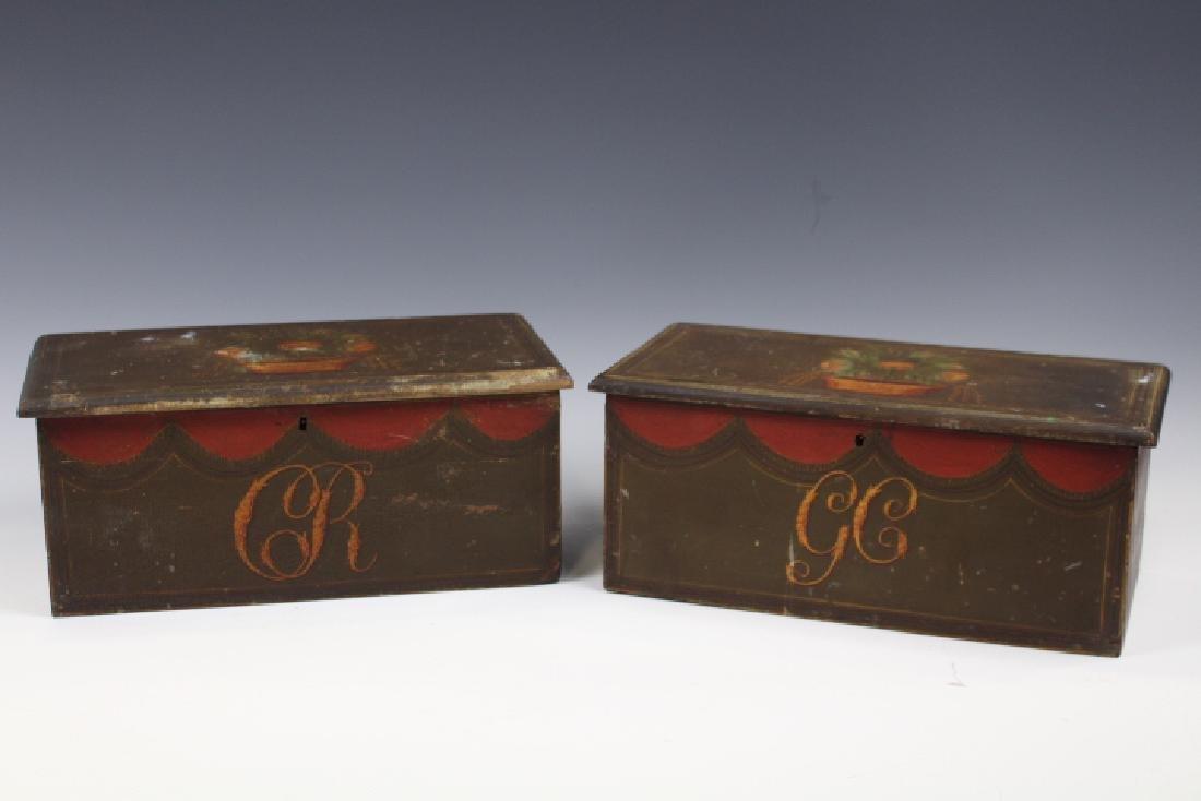 Rare Important Folk Art Decorated Boxes - Penn